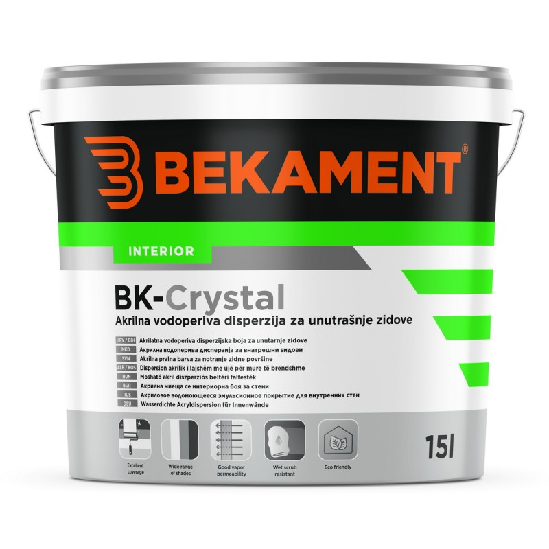 Notranja pralna barva za stene BK - CRYSTAL